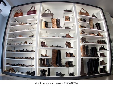 Fashion shoe store shelf