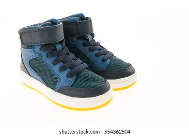 Fashion shoes and sneakers isolated on white background