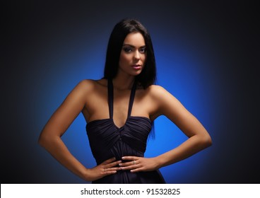 Fashion shoot of young and sexy brunette