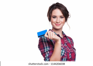 fashion, shopping, banking and payment concept - smiling elegant woman with plastic credit card.