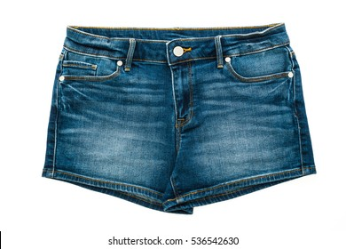 Fashion short jean pants for women isolated on white background