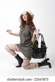 fashion shot of a woman wearing retro clothes