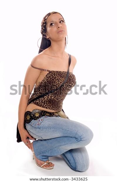 Fashion Shot of a young pretty brunette woman