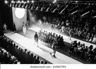 Fashion Show, Catwalk, Runway Event blurred on purpose