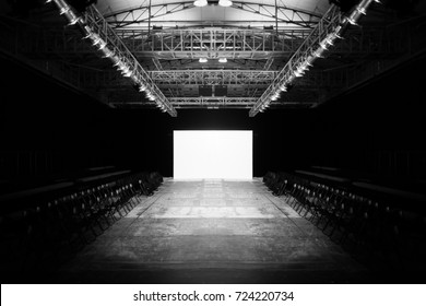 Fashion Show Empty Stage, Fashion Week, Catwalk Runway Show Event.