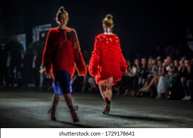 Fashion show themed photo. Catwalk show. Blurred on purpose backstage photo.