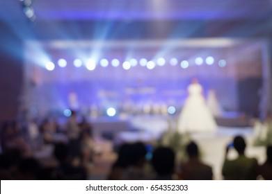 Fashion show Wedding fair out of focus,blur background.