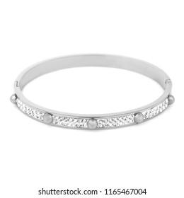 Fashion silver bracelet isolated on white background