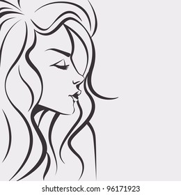 Fashion sketch woman - Day dreaming girl with long hair