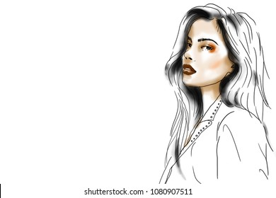 fashion sketch.makeup face girl on white background.copy space.