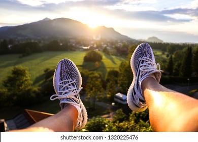 Fashion sneakers in Evening sun