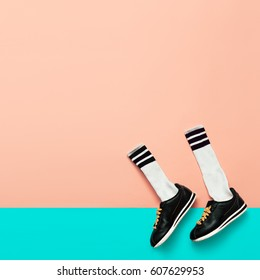 Fashion Sneakers and Hipster Socks. Art minimal style design Bright Summer Sports and Movement