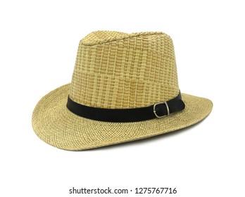 Fashion straw hat isolated on white background.