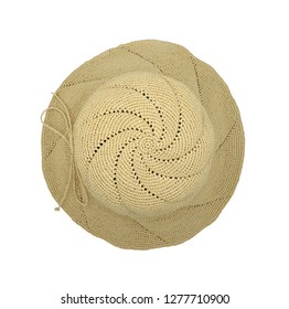 Women's fashion straw hat isolated on white background. Top view.