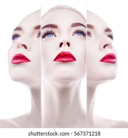 Fashion studio portrait in mirror of beautiful blonde woman with perfect makeup. Red lips. Strobing