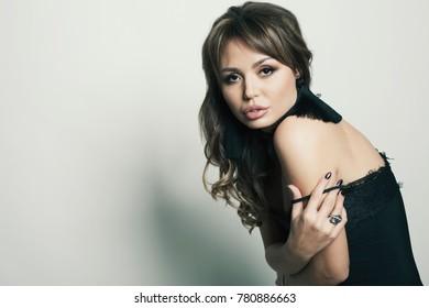 Fashion studio shot young beauty woman on white bg