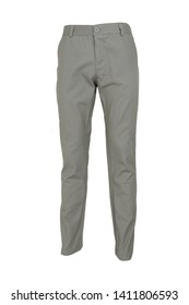 fashion, style  concept -Chino pants isolated on white background, light gray color