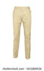 fashion, style  concept -Chino pants isolated on white background, khaki color