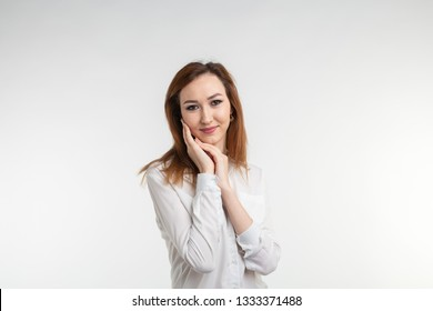 Fashion, style and people concept - pretty young asian woman over white backgroung