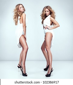 fashion style photo of beautiful sexy twins