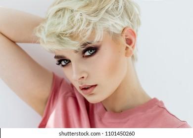 Fashion style photo of female face isolated on white
