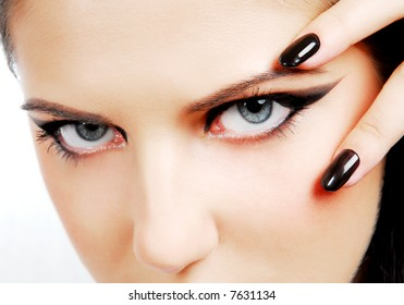"""Fashion style. Woman face with so sexy """"black eyes"""""""