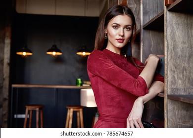 3f60c14d537 Fashion style woman perfect body shape brunette hair wear red skinny dress  elegance casual accessory beautiful