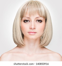 Fashion Stylish Beauty Portrait with White Short Hair. Beautiful Girl's Face Close-up. Haircut. Hairstyle. Fringe. Professional Makeup. Make-up.