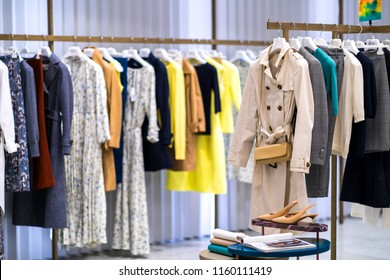 Fashion stylish luxury clothes display. Image and stylish services, selection of colors, types. Capsule fall autumn wardrobe