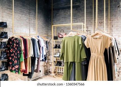 Fashion stylish luxury clothes display. Image and stylish services, selection of colors, types. Capsule spring wardrobe