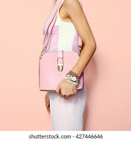 Fashion Summer Accessories Lady. Bag and Jewelery. Glamorous Pink.