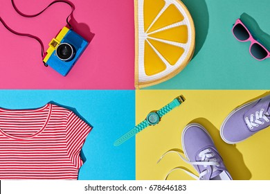 Fashion Summer Hipster Set. Film Camera, Clothes Accessories. Glamor Lemon Citrus Clutch, Trendy Sunglasses. Urban Outfit. Hot summertime fashionable color. Creative Bright Pop Art Style