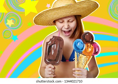 Fashion summer kid. Bright girl, exclusive color rainbow background. Portrait funny child in straw hat, swimsuit, holding ice cream art. Emotion face closeup. Concept vacation, heat, travel.