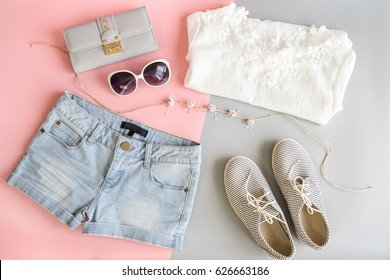 Fashion summer women clothes set, Flat lay, Top view
