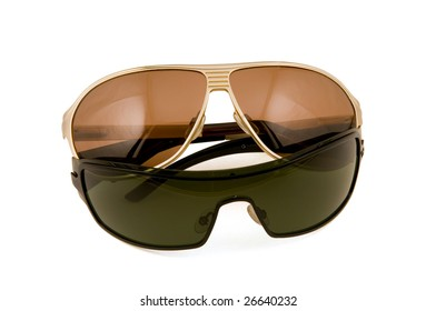 Fashion Sun glasses gold and black color on a white background
