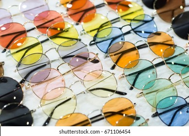 Fashion sunglasses optician colorful variety in the store, put a row on sale.