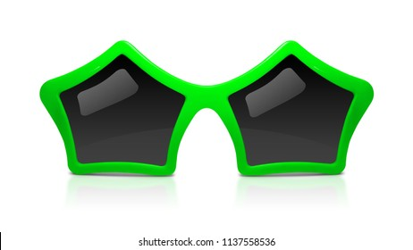 Fashion sunglasses with star shape isolated on white background. Celebration glasses party. ( Clipping path )