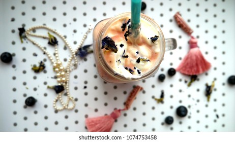 Fashion Trendy Summer Food Flatlay: Milkshake on a Tray With Jewelry