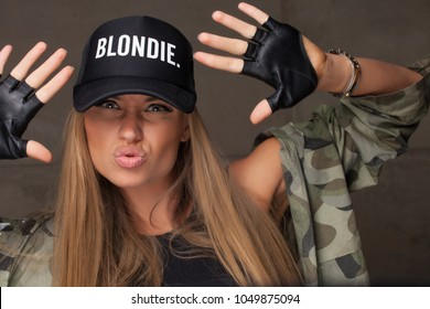 fashion trendy woman with long blond hair