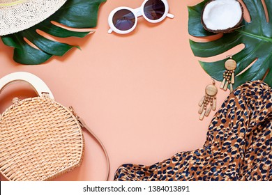 Fashion vacation concept tropical summer flat lay. Top view. Copy space