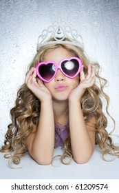 fashion victim little princess girl humor portrait crown and heart shape glasses