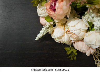 Fashion vintage background for gift card. Bouquet of peonies.