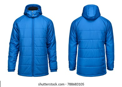 fashion winter blue jacket, clipping path isolated on white background