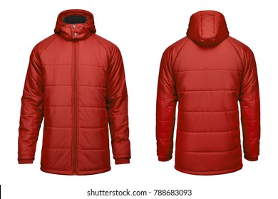 fashion winter red jacket, clipping path isolated on white background