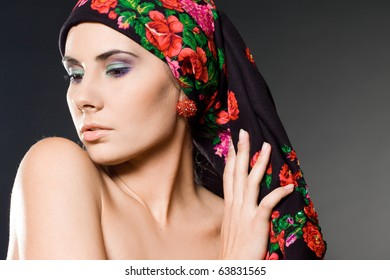 fashion woman with black headwear