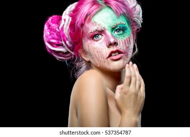 Fashion woman with creative make up. Candy pink make up. Halloween makeup