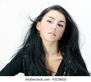 Fashion woman dancing portrait isolated