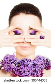 Fashion Woman. Female Face. Bright Colorful Makeup and Flowers