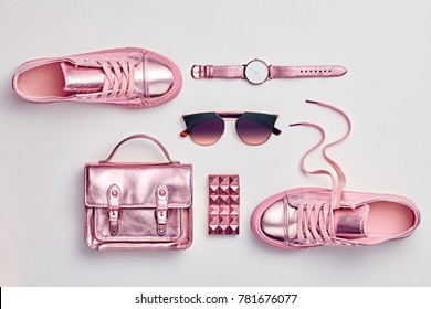 Fashion. Woman Gold Accessories Set. Luxury Spring Hipster Girl Outfit. Trendy Handbag, Shoes, Glamour Sunglasses, Stylish Watch. Layout. Pastel Color