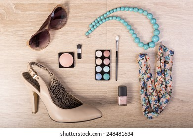 Fashion woman objects on wooden background